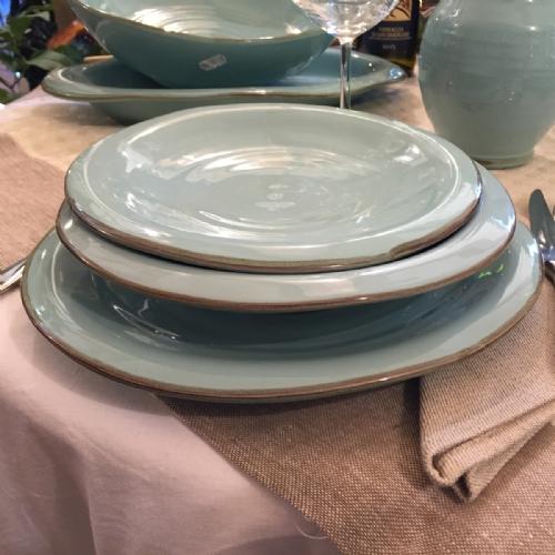 CEL910-28-6 / Set of 6 dinner plates. Colour light blue & Italian Decorative Plates Tuscan Dinnerware   Leoncini Italy