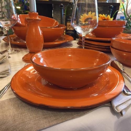 ARA911-18-6 / Set of 6 bowls. Colour orange & Tuscan Dinnerware Italian Ceramics Pottery   Leoncini Italy