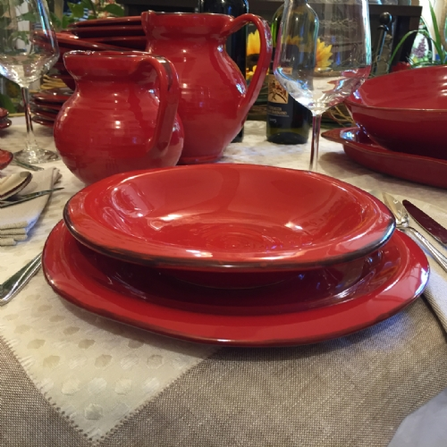 ROS910-28-6 / Set of 6 dinner plates. Colour red & Italian Decorative Plates Tuscan Dinnerware | Leoncini Italy
