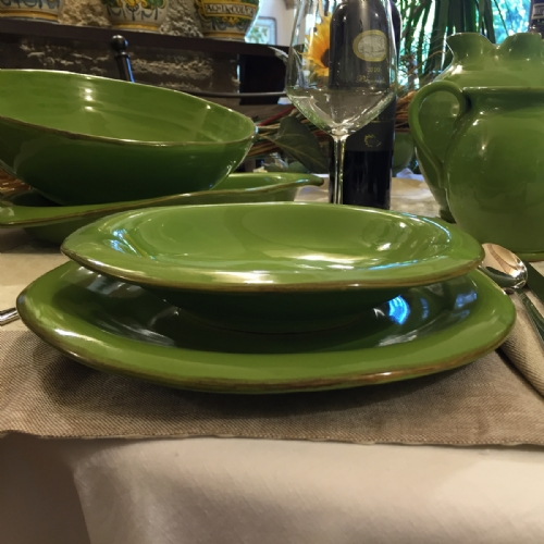 VER910-28-6 / Set of 6 dinner plates. Colour green & Italian Decorative Plates Tuscan Dinnerware | Leoncini Italy