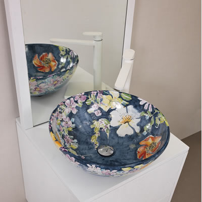 Italian flowery-painted ceramic vessel sink