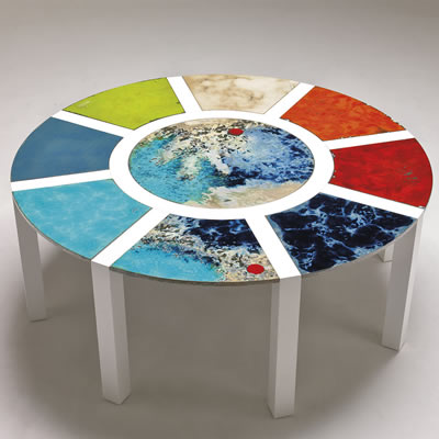 Hand-painted round vessel sink Italian modern design