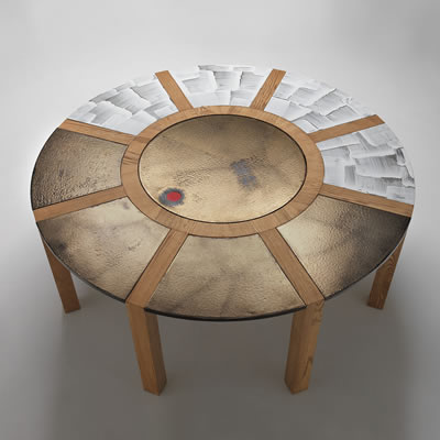 Modern round tables made in volcanic stone
